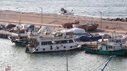 FISHING BOATS AT HARBOUR Footage