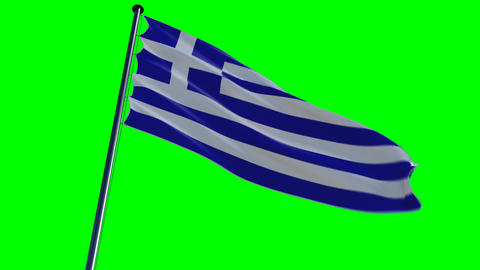 Greece Flag, HQ Animated On An Greenscreen stock footage