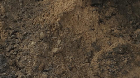 Digger shovels sand, roadworks Live Action