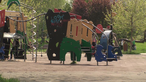 Bucharest, May the 1st Kids Playing In A Playgroun Footage