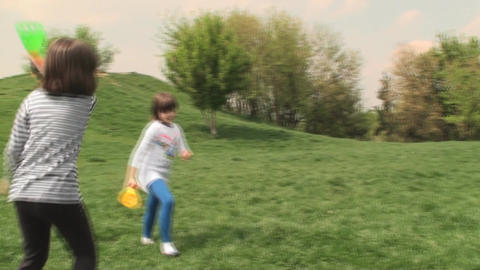 Two Little Girls Playing In The Park, Spring, Yout Footage