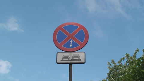 No Parking Allowed Here Street Sign,With A Blue Sk Footage