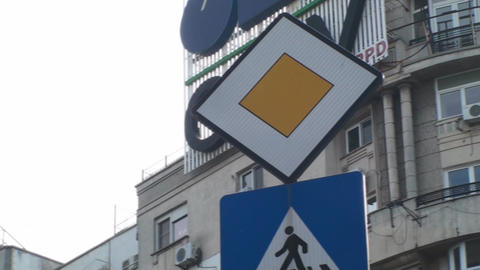 Priority Street Sign, Cars, Traffic, Down Town, Lo Footage