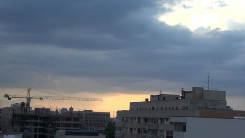 Storm Clouds Forming Over Bucharest Sun Ray Trough Footage