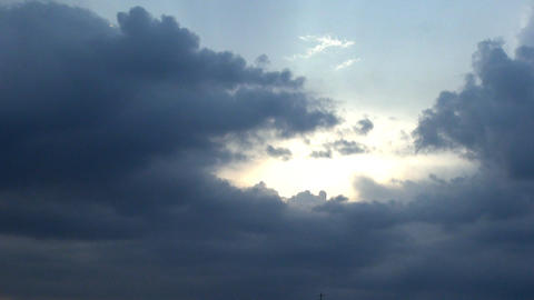 Sun Rays Trough The Clouds, Aerial, Skyline, Hand  Footage