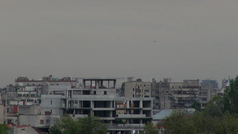 Storm Clouds Forming Over Bucharest Birds Flying A Footage