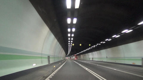 Driving through tunnel at night Archivo