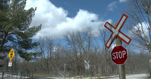 Danger sign close to railway tracks Footage