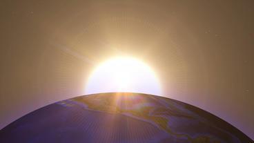 Beautiful sunrise over earth Animation