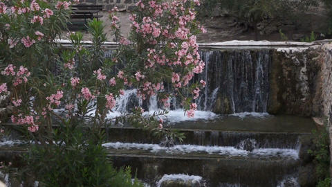 Artificial Waterfall In Park Footage