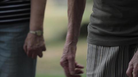 elderly people enjoying boule in a park, ball shoo Footage