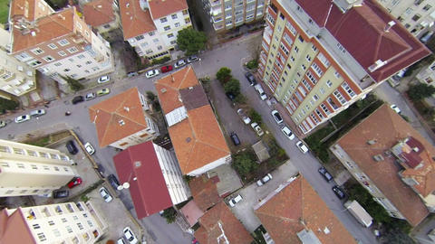 Aerial perspective of apartment buildings over sub Footage