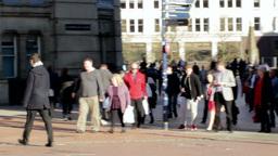 Panning Chamberlain Square in Birmingham, UK. Peop Footage