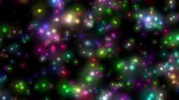 Flying through saturated colorful glowing stars in Animation