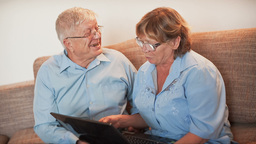 Older People Learn Working In Laptop stock footage