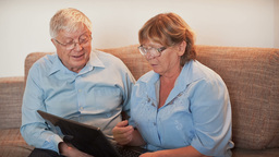 Older People Learn Working In Laptop stock footage