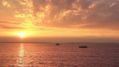 Spectacular Sea Sunset and Boats Footage