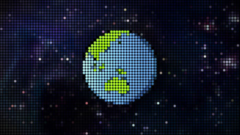 cartoon planet in space pixel style Animation