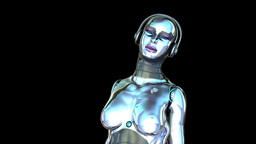 Dancing Robot Girl (Alpha Channel) Animation