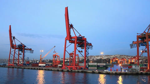 Istanbul Container Harbour Footage