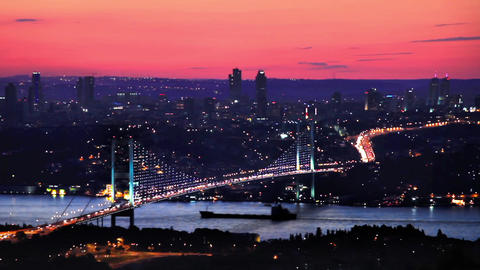 Istanbul Bosphorus Bridge on sunset Footage