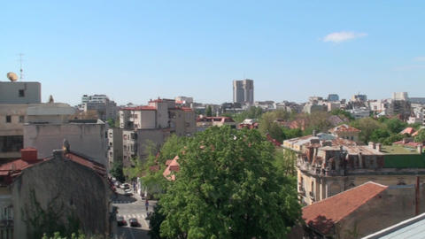 Aerial View Of Downtown Bucharest, Skyline, Downto stock footage
