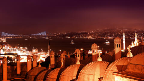 Night Bosphorus Strait, Galata Bridge And Bosphoru stock footage