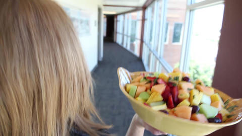 Fruit Bowl Carry Glidecam stock footage