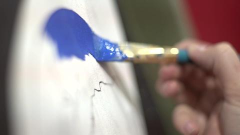 Painting blue Footage