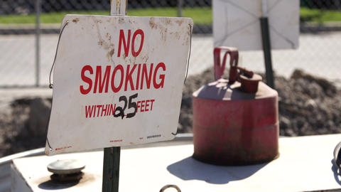 No Smoking Gas Can stock footage
