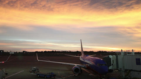 Plane prepares to leave gate Footage