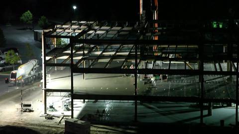 Construction site dawn tilt tight Live Action