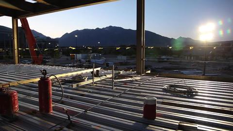 Construction site sunrise Footage