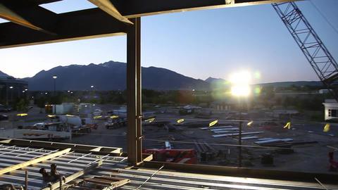 Construction site sunrise glidecam Live Action