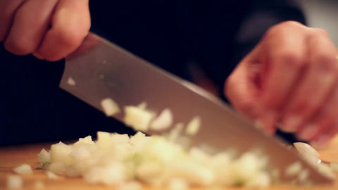 cooking chopping onion low Footage