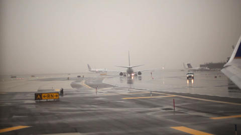 Rainy Runway stock footage