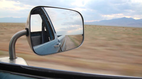Side View Mirror Desert stock footage
