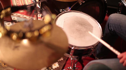 Tambourine being played with drums Footage