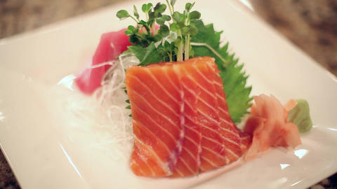 Sushi salmon plate slow twist Live Action