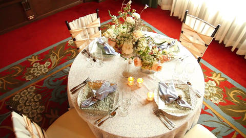 Wedding table from above Footage