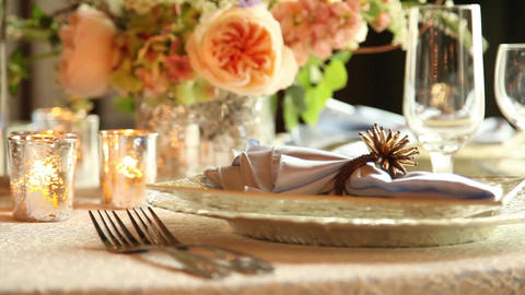 Wedding table setting tight shot Live Action