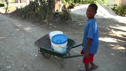Boy pushed buckets from water well 2 Live Action