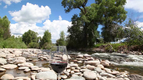 Wine glass by river Footage