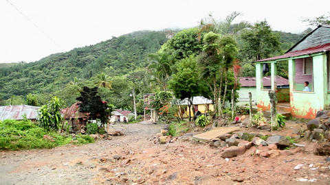 Dominican Republic hillside village Footage