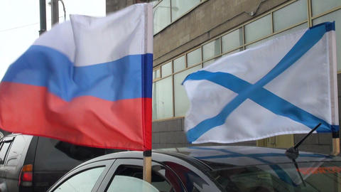 Russian and marine flags Footage