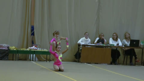 Children's competitions on acrobatics. Slow motion Footage