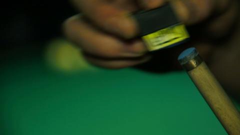 Pool cue RUB chalk Footage