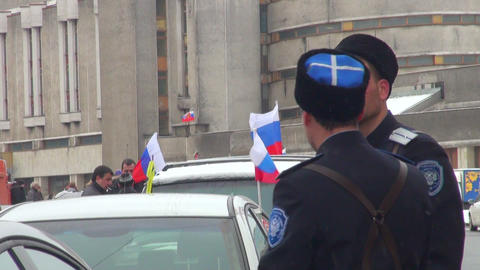 The Cossacks were photographed at the Russian flag Footage