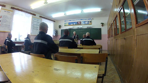 Convicts and prisoners in the lesson. The prison s Footage