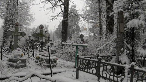 Orthodox cemetery, Church, winter Footage